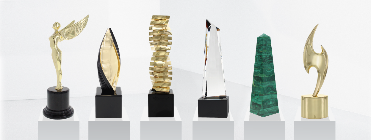 Six Art Trophies in a Museum