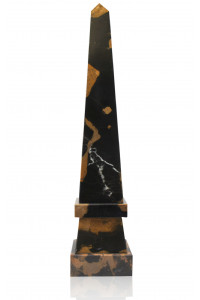 Stepped Obelisk Black & Gold Marble