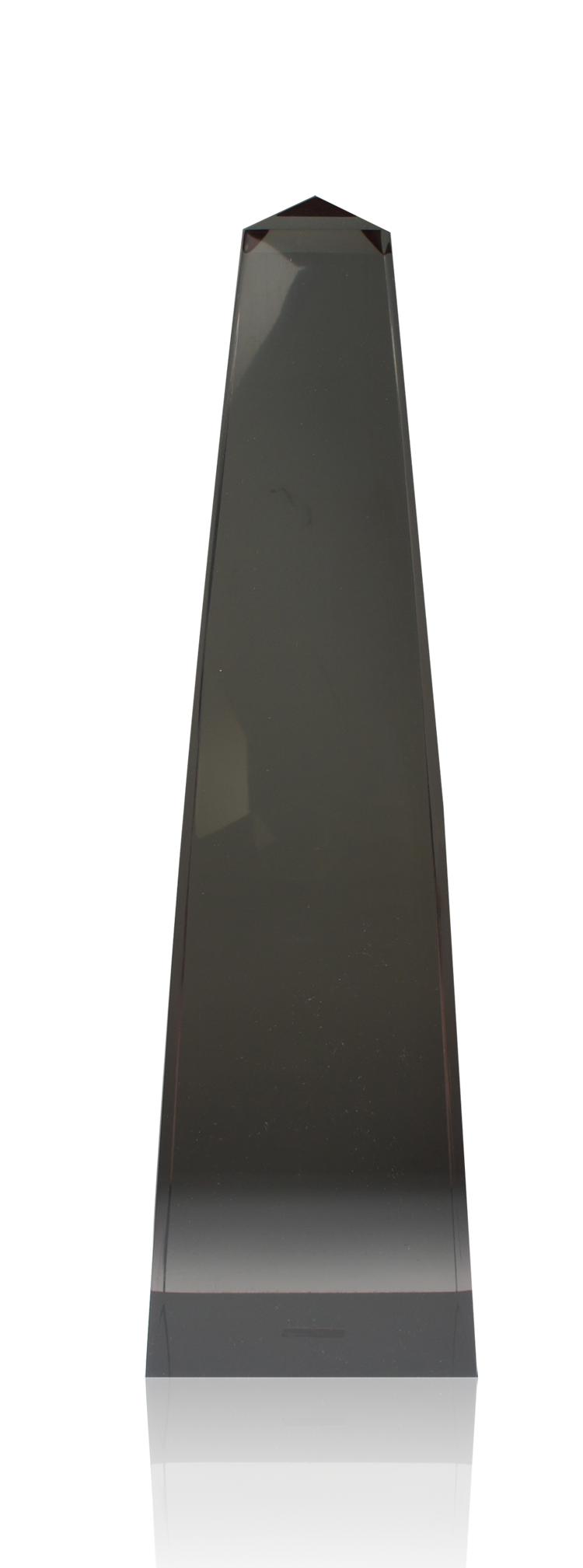 Modern Obelisk Smokey Quartz Lucite