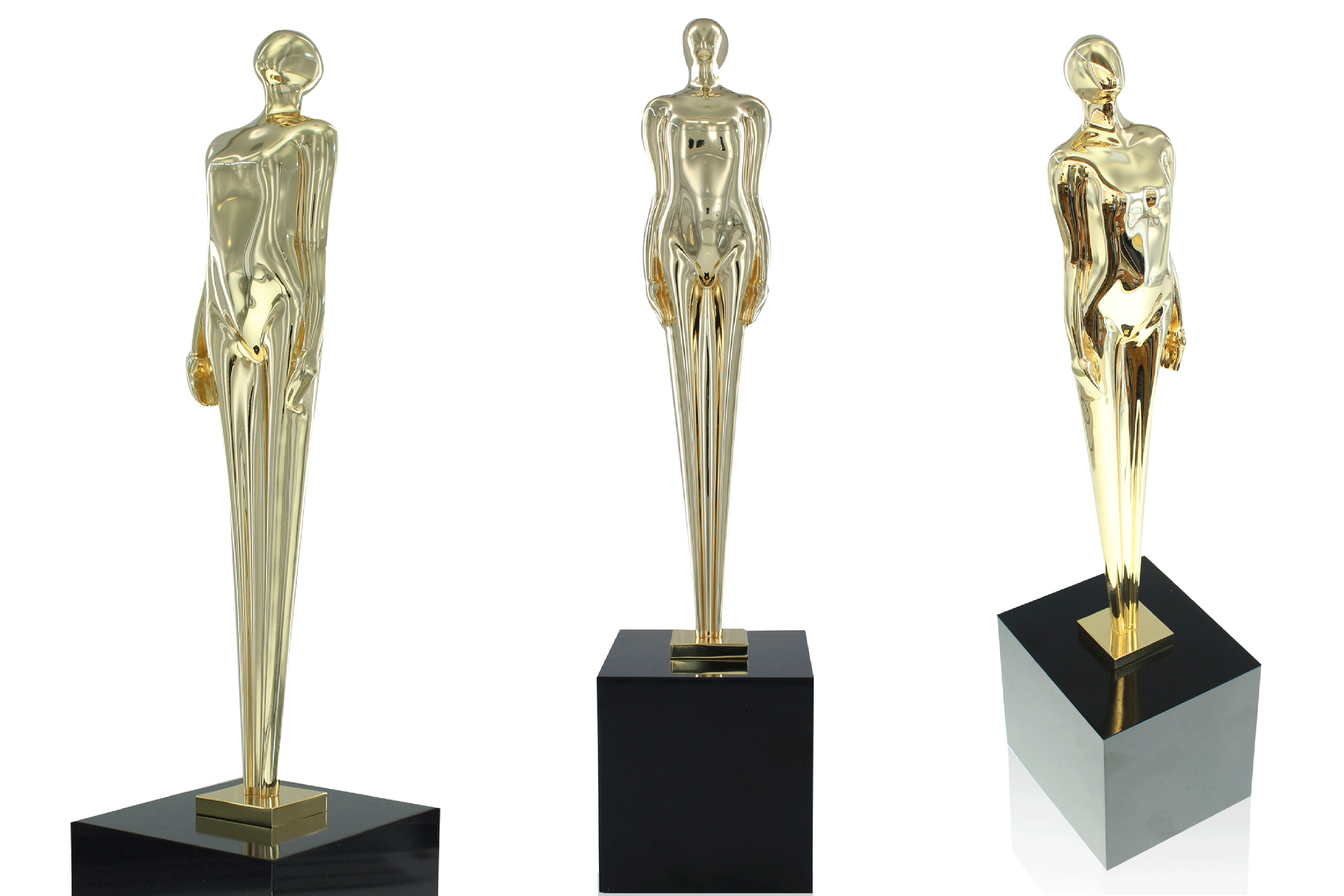 3 views of the limited edition Figure 1 trophy