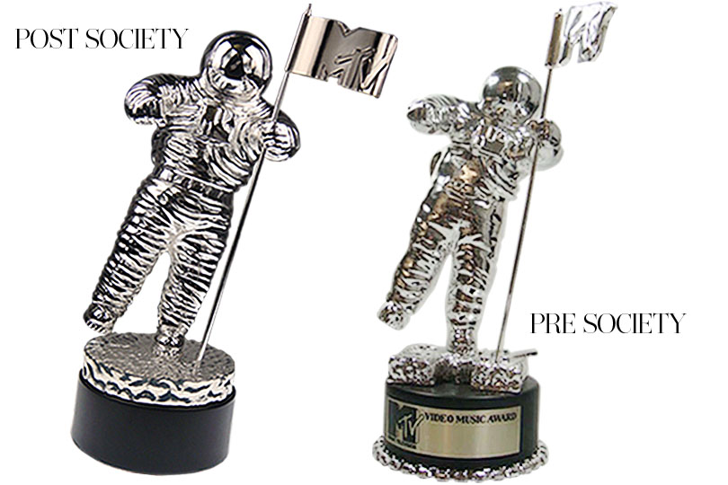 Two MTV VMA Moonmen, left was crafted by Society Awards and reflects our exceptional design and craftsmanship capabilities. Right is previous vendor.