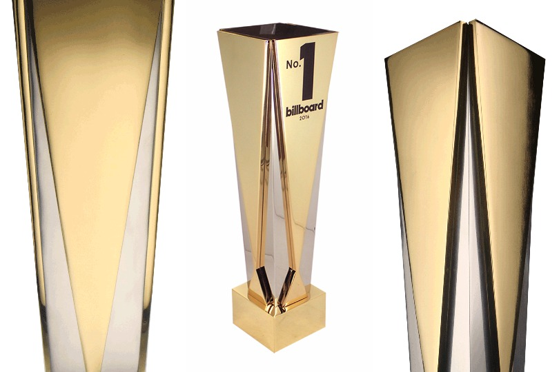3 views of the Gatsby Gold award, made of aluminum and 24k gold plating. Award is customized with the Billboard No.1 logo