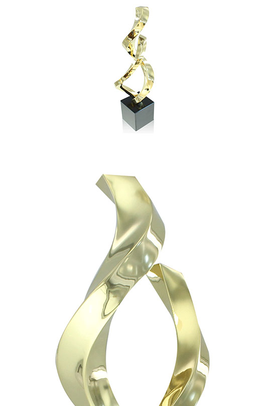 2 views of the limited edition Ribbons 1 trophy. Above view of the award and up-close of the top