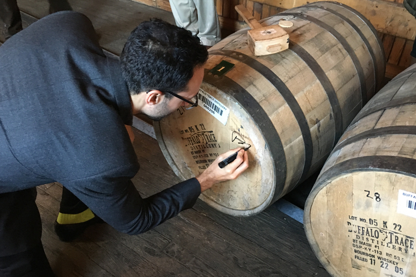 CEO David Moritz signing the selected barrel of Eagle Rare that will become our 10th Anniversary Bourbon