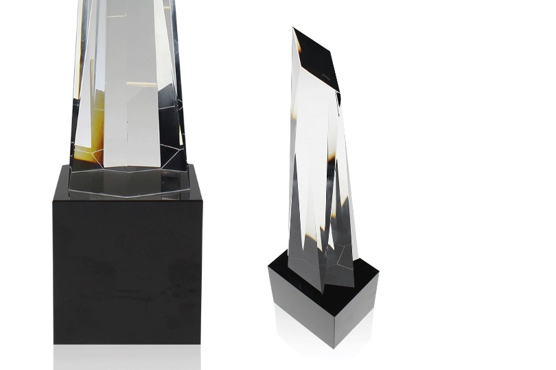 Close up views of the Metropolis Crystal awards