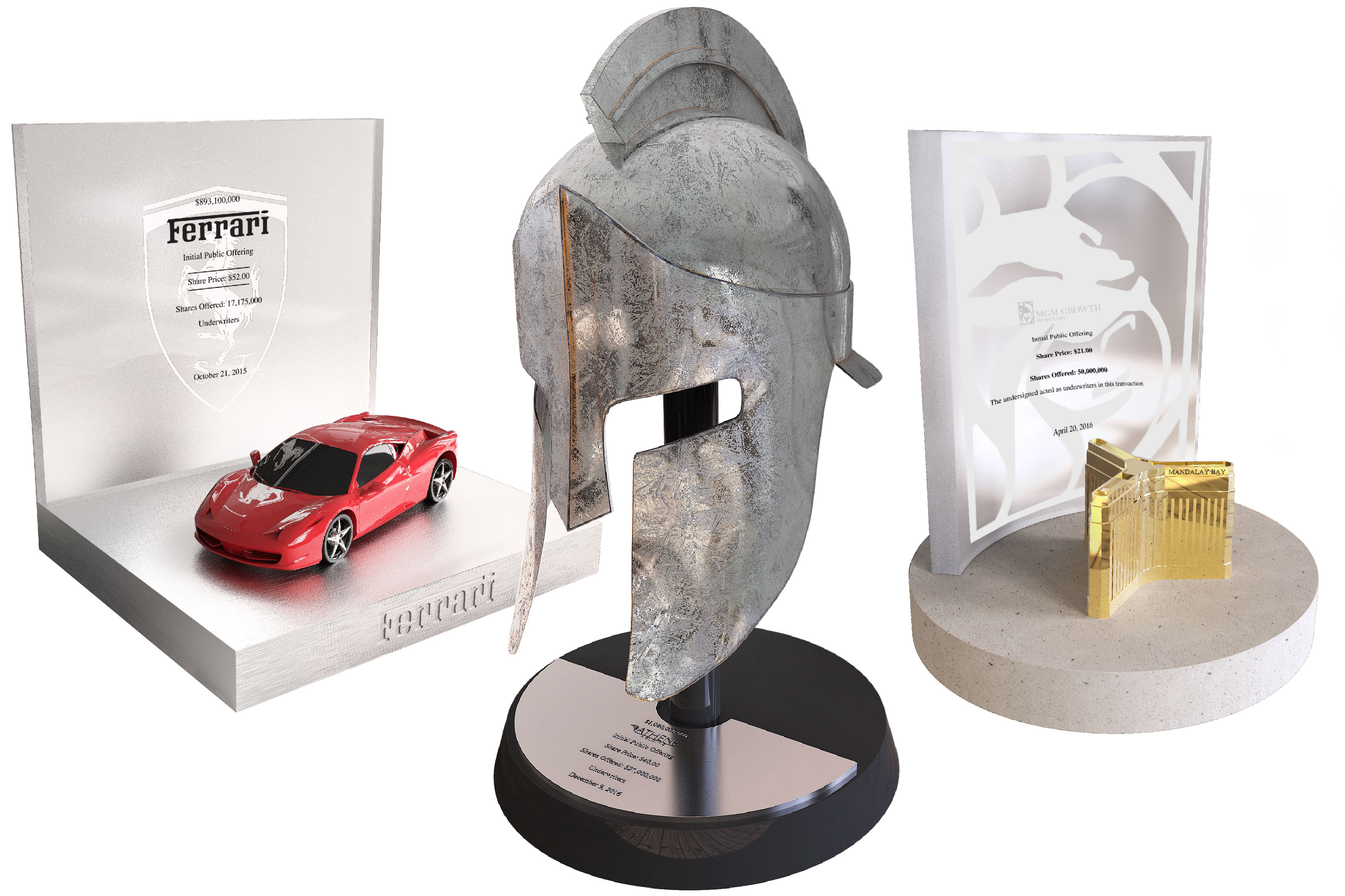 Three luxury deal toys designed by Society Awards