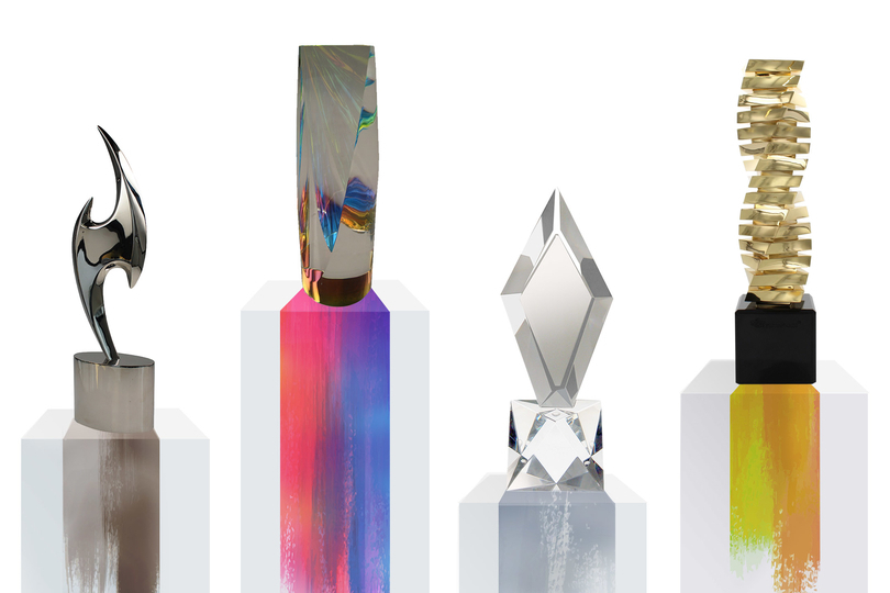 Four more trophies on pedestals of varied height and dripping paint detail