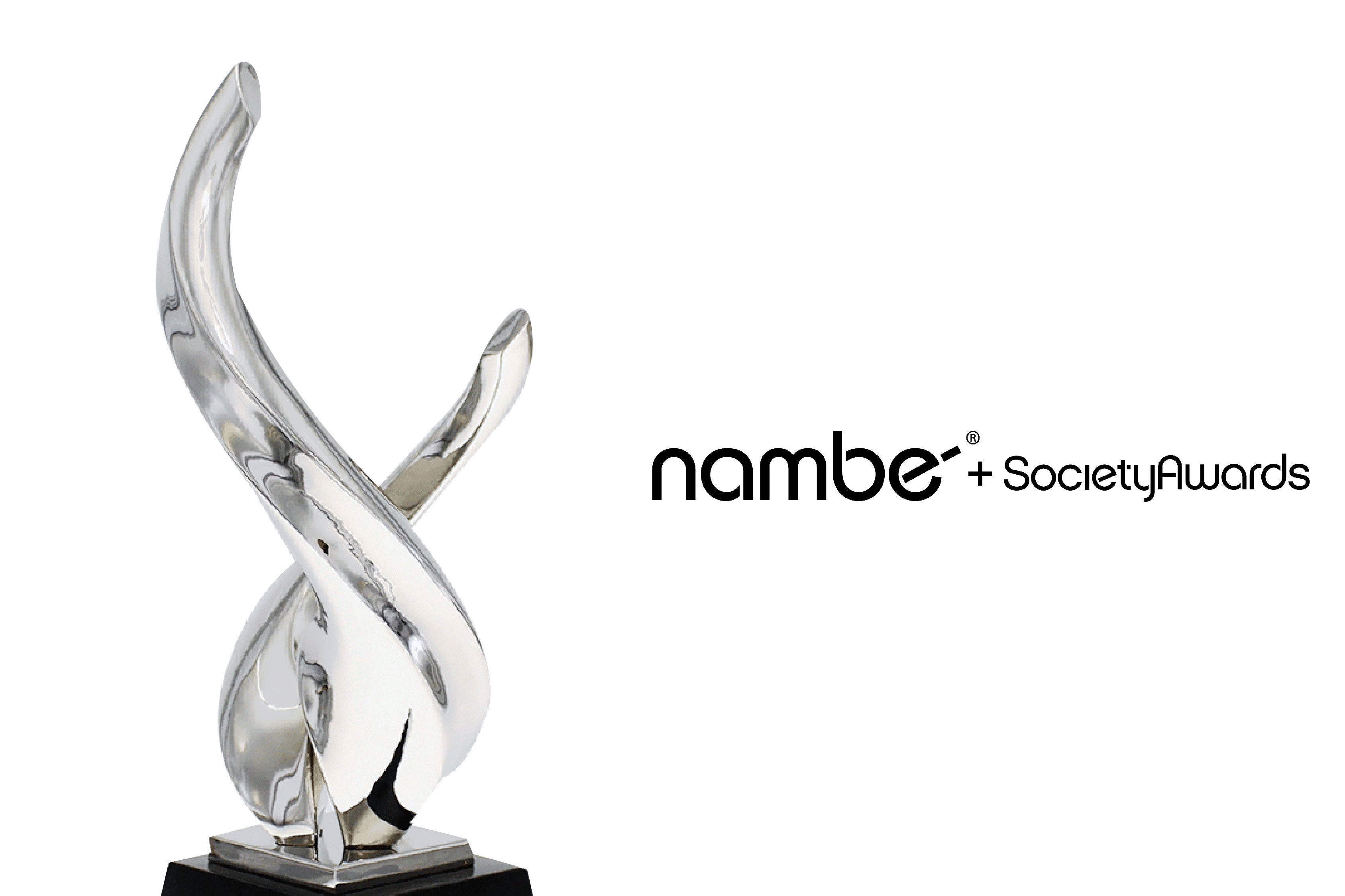 Close up view of the Namb Lark trophy and collaborative logo