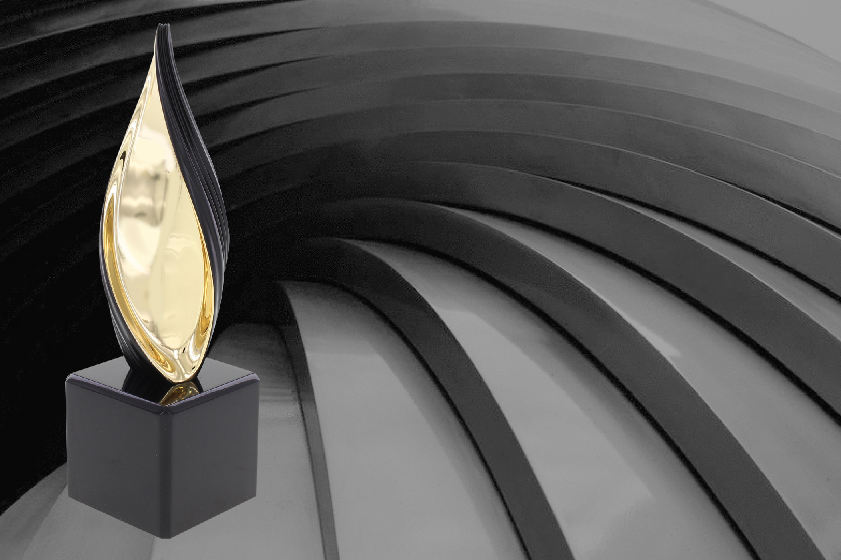 Black and gold luxury metal trophy
