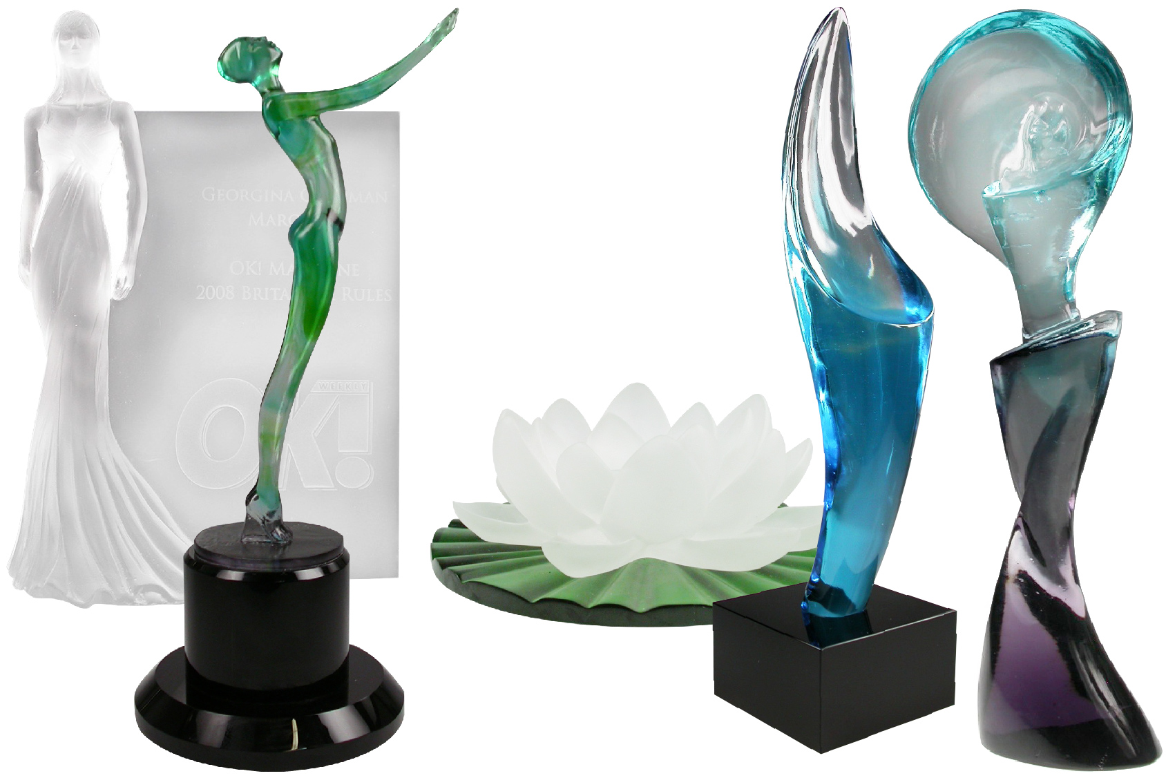 Five colorful pâte de verre sculptural trophies