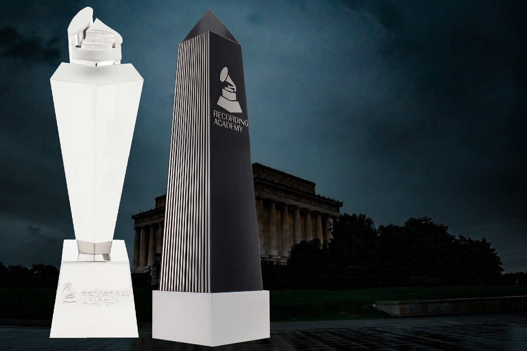 Two custom trophies by Society Awards for the Grammys on the Hill