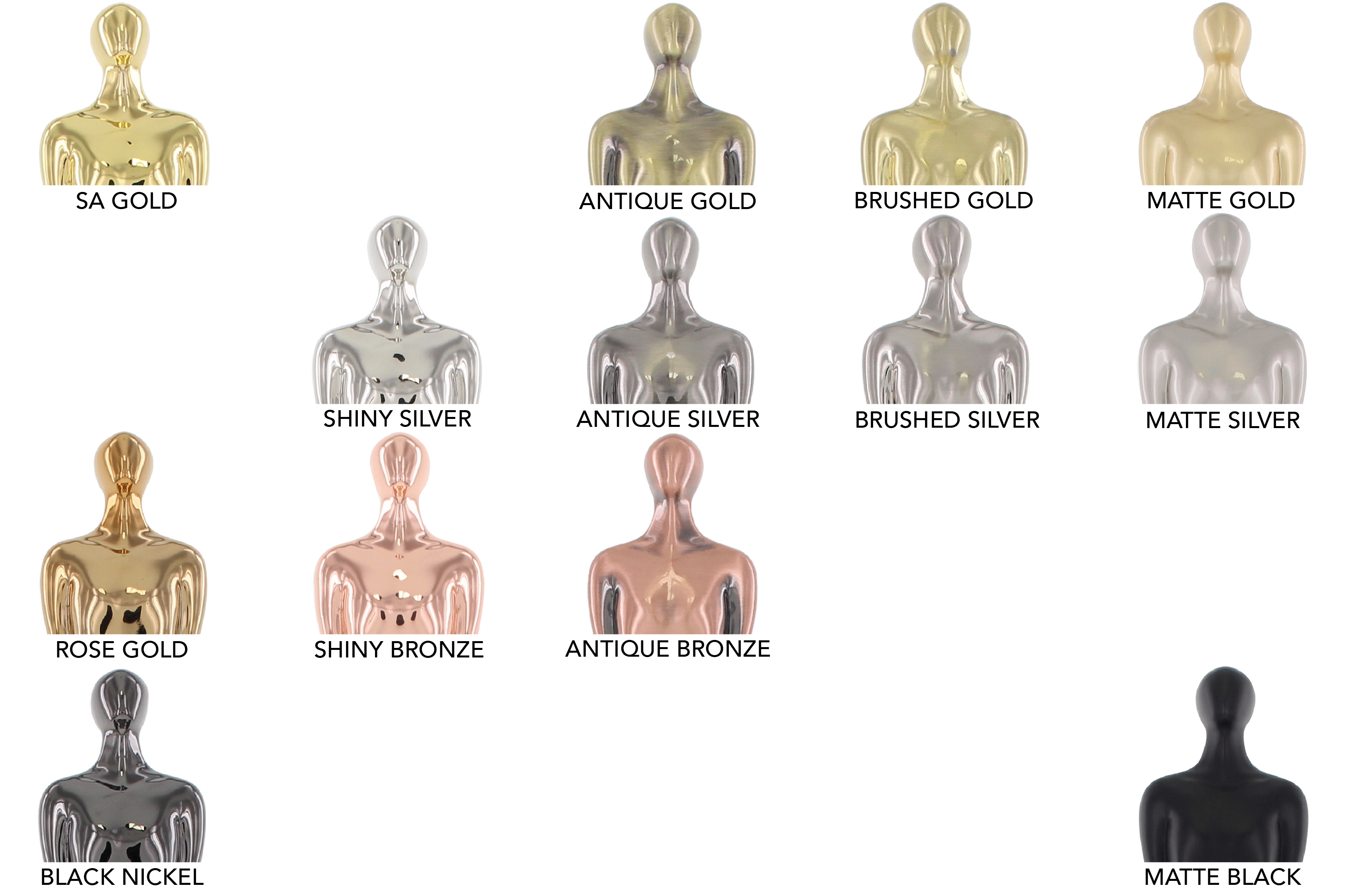 Chart of Society Awards custom electroplated finish examples