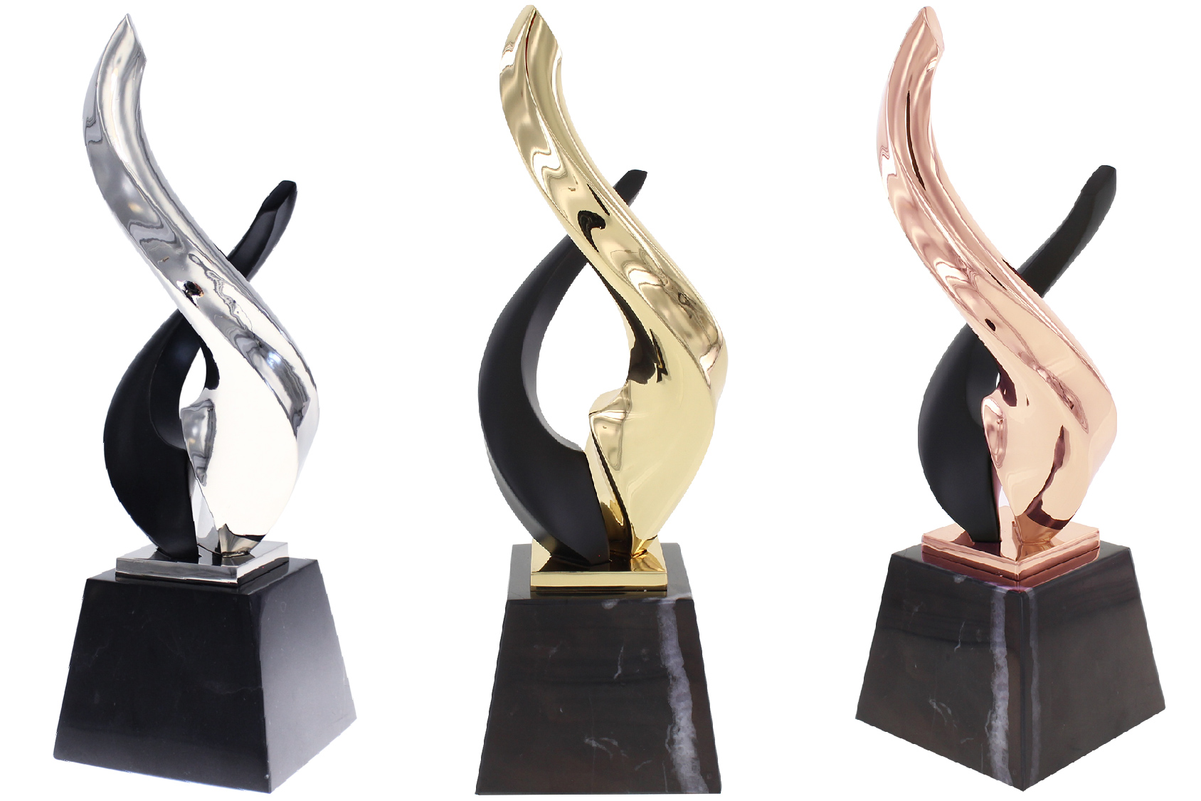 Three metal and marble trophies in gold, silver and bronze