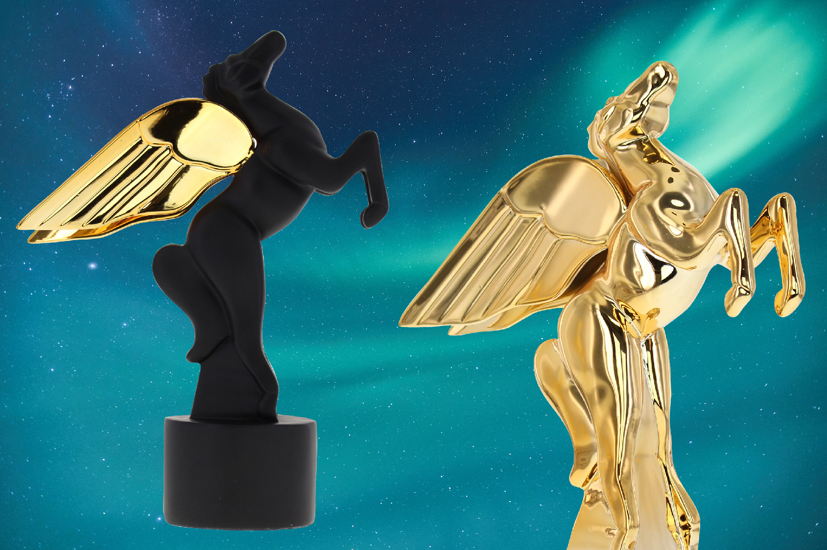 Two custom pegasus trophies flying into the night sky