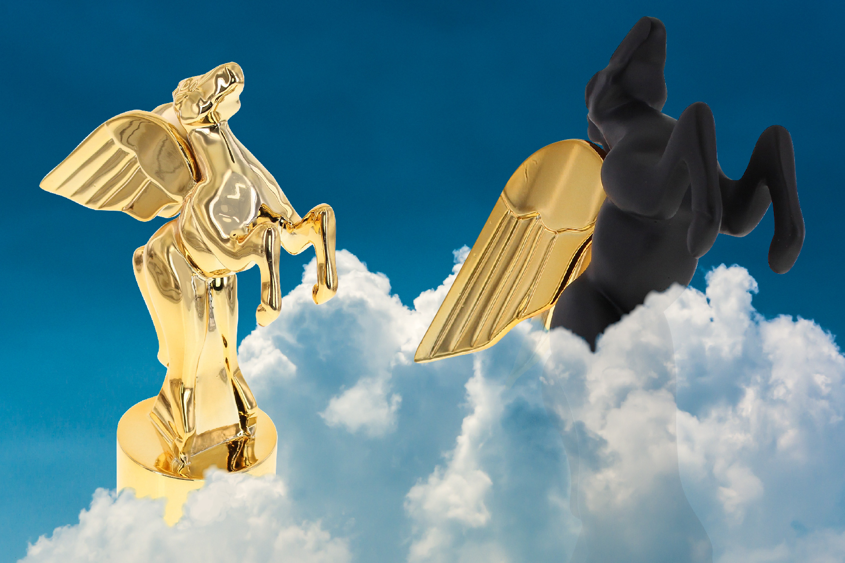Two pegasus shaped custom awards emerging from clouds