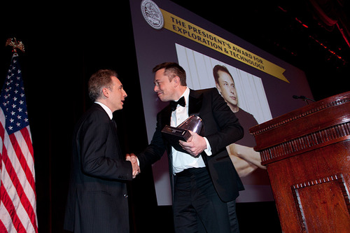 SpaceX Founder and CEO Elon Musk accepting an Explorer's Club trophy on-stage at the Annual Dinner Gala