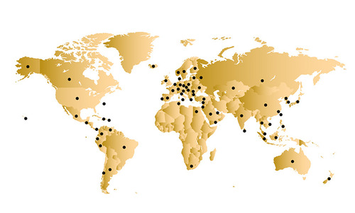 Golden map of the world with black dots on each of the 71 countries that we currently serve.