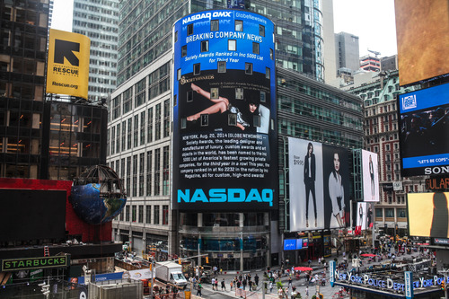 Times Square's NASDAQ billboard displaying announcement of our third year on the Inc. 5000 Fastest Growing Companies List