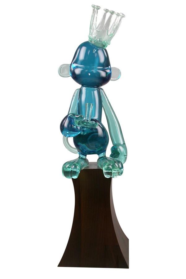 custom cast crystal gel translucent resin acrylic beautiful blue monkey award on solid wood base