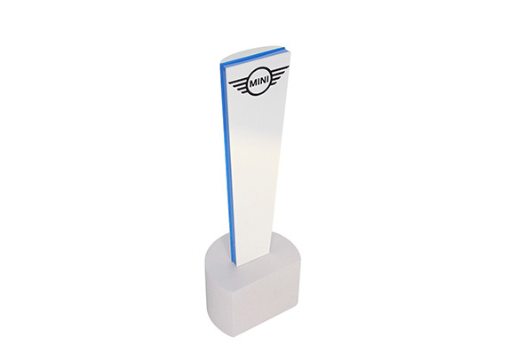 Modern, Custom Resin Award with Colorfill Logo and Blue Accent