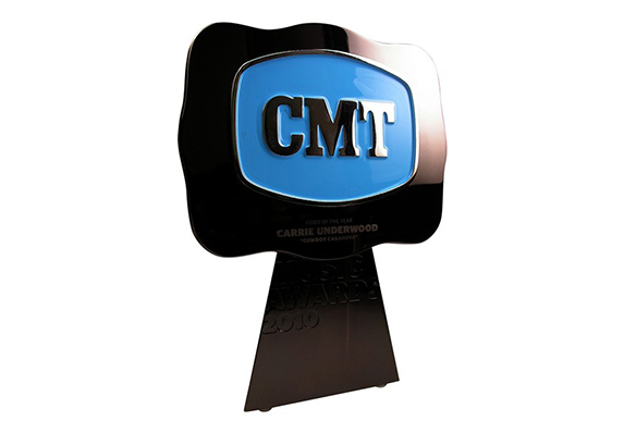 Modern Sculpture Trophy - black gunmetal plated cast metal award with changeable buckle medallion with enamel color fill - CMT Country Music Awards custom designed