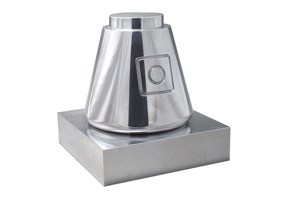 solid machined aluminum trophy based on the Space X Dragon capsule presented by The Explorers Club to Elon Musk