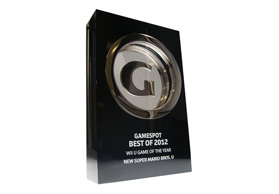 CNET Gamespot trophy with silver G in clear crystal inside black crystal block shown with etched personalization
