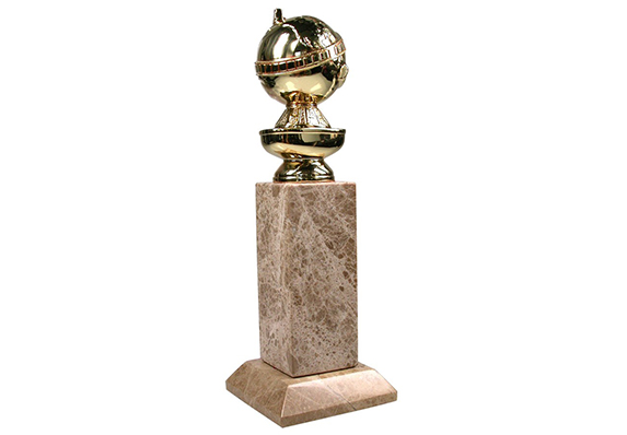 World Famous Entertainment Award - the Golden Globe Award Trophy - beautiful custom Society Awards creation - gold plated metal casting on marble
