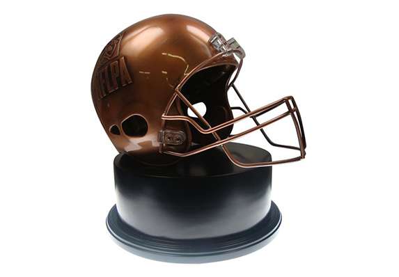 custom football award trophy for National Football League Players Association NFLPA - incredible detail inside and out - realistic custom made helmet award