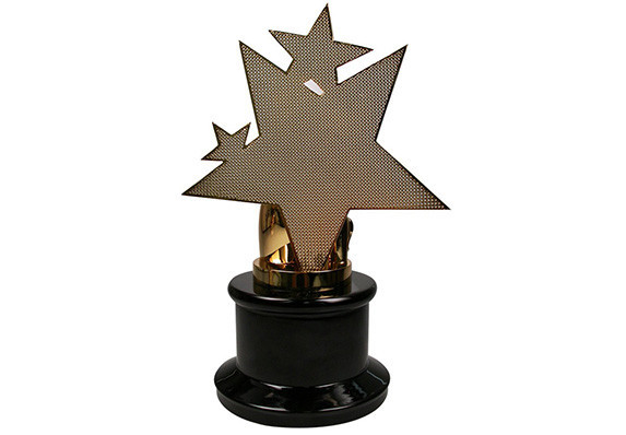 Custom association award with stars and welding tools