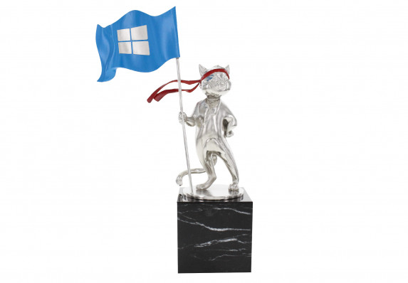 This cast metal cat trophy with logo-emblazoned flag and hand-painted details is mounted on a polished marble base.