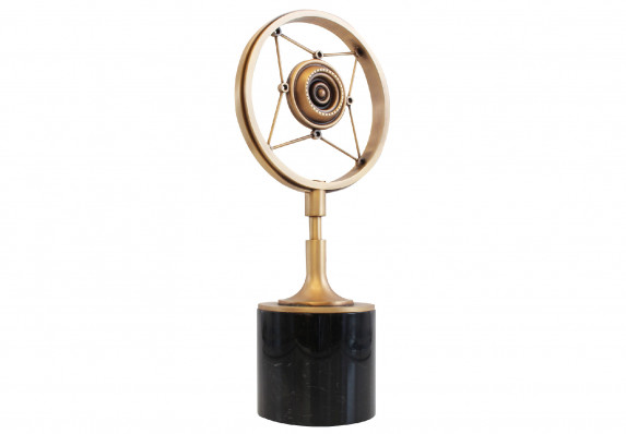 Custom trophy with cast model of vintage microphone plated in aged bronze. Form is mounted on a black marble base.