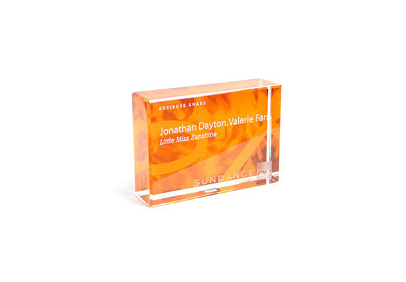 Custom crystal award with etching and color printing