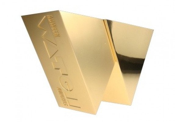 Metal award with hand-polished 24k gold plating.