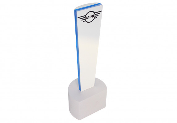 Modern, custom award crafted in resin and accented with colorfill logo and PMS-matched color band.