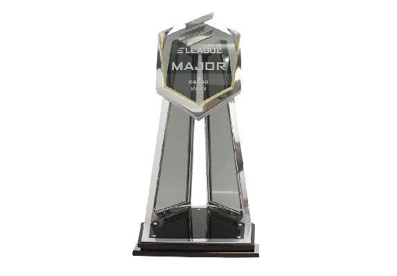 E-Sports finals trophy crafted with a metal frame and smoked glass panels.