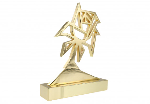 Beautiful metal award with precision detailing and hand-polished 24k gold plating.