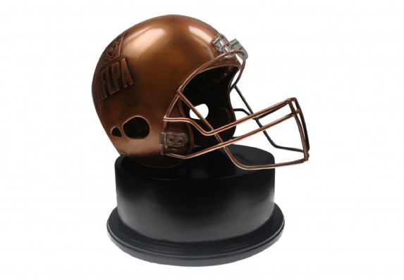 A custom football award trophy crafted with incredible detail inside and out. The realistic, full-size helmet award is mounted on a base.