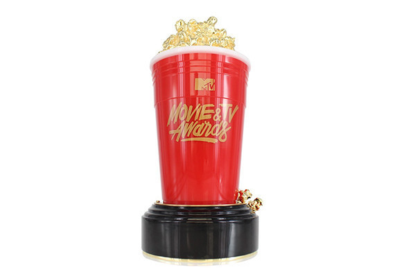 Special edition, custom award formed in Lucite with metallic logo and gold-plated metal popcorn.