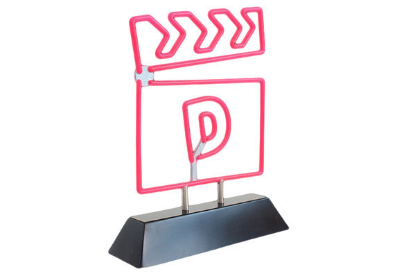 Custom logo trophy designed to look like a 3-dimensional neon sign.