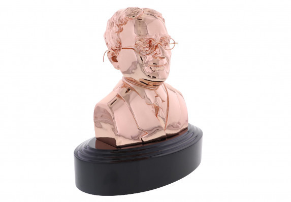 Highest honor for dentist award bust sculpture with removable glasses in rose gold