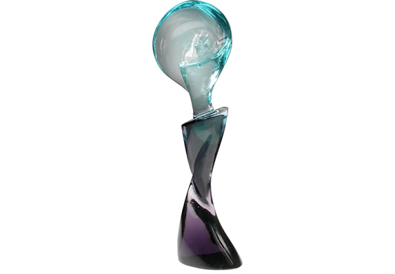 beautiful blue and purple and clear cast crystal sculpture award