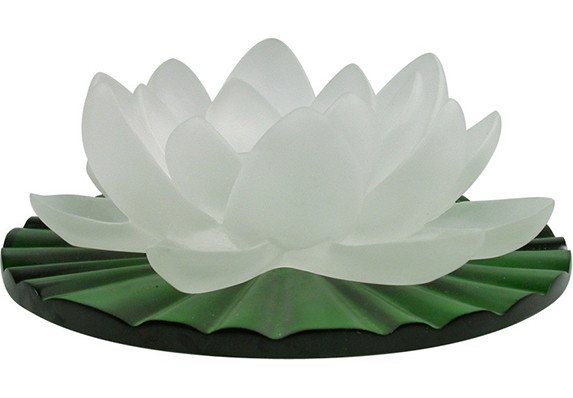 Frosted glass pate de verre cast crystal lily flower sculpture on green crystal leaf base