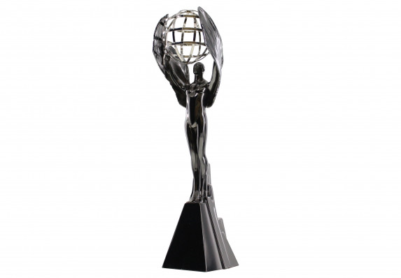 Climbing winged figure holding a metal globe. This award is finished in black nickel electroplating on the main form with the globe in platinum, gold or bronze.