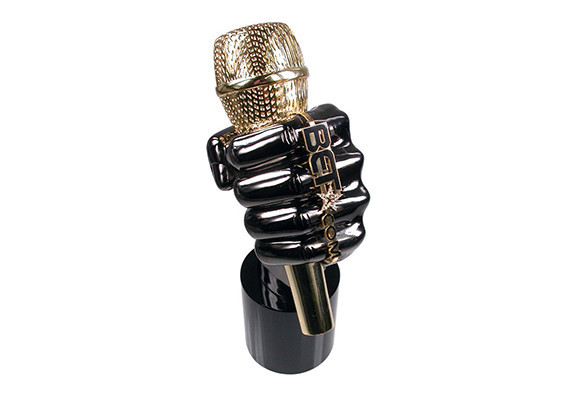 Hand with microphone custom award in black nickel and 24k gold with branded ring and crystal detail