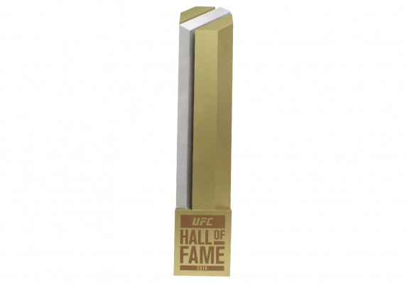 A geometric custom column award finished in two-tone brushed silver and gold.