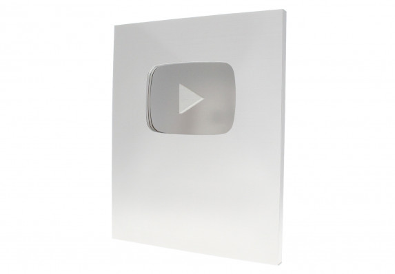 Brushed silver trophy plaque for the YouTube creator awards with contrasting, shiny recessed logo.