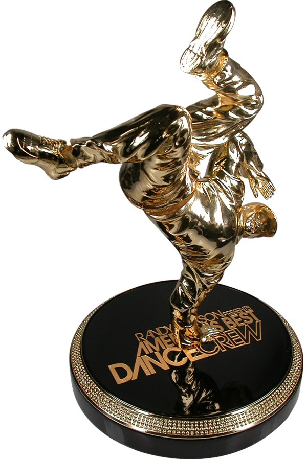Huge impressive custom made break dancer award with legs that move on a heavy duty spring on turntable base designed and made by Society for ABDC MTV Americas Best Dance Crew