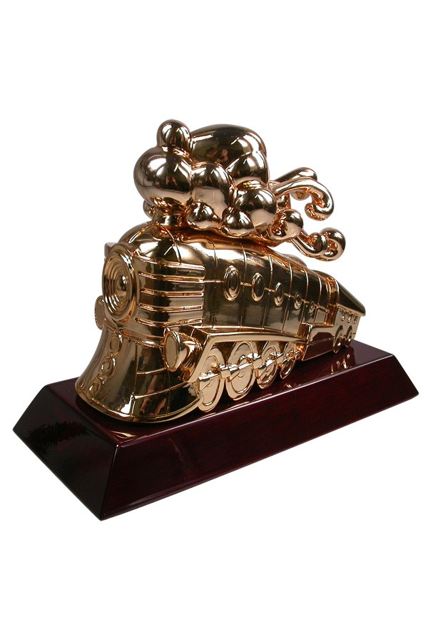 designed by Tristan Eaton manufactured by Society Awards - custom designed award - cast and plated train with billowing smoke trophy on wood base