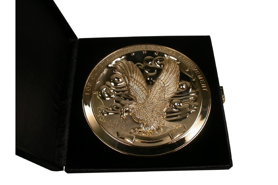Directors Guild of America medallion in box trophy